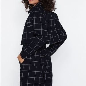 Black and white Checkered cropped jacket
